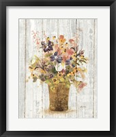Framed Wild Flowers in Vase II on Barn Board