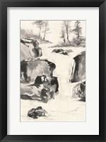 Framed Sumi Waterfall II