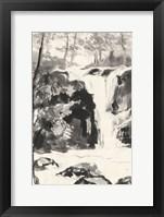 Framed Sumi Waterfall III