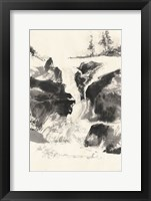 Framed Sumi Waterfall V