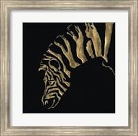 Framed Gilded Zebra on Black
