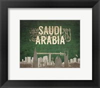 Framed Riyadh, Saudi Arabia - Flags and Skyline