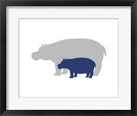Framed Silhouette Hippo and Calf Navy