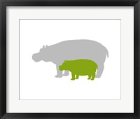 Framed Silhouette Hippo and Calf Green