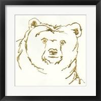 Framed Gilded Brown Bear