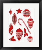 Framed Christmas Otomi Tile III