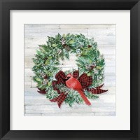 Framed Holiday Wreath I on Wood