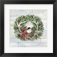 Framed Holiday Wreath IV on Wood