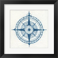 Framed Indigo Gild Compass Rose II