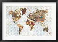 Framed Pattern World Map Geo Background