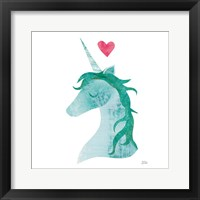 Framed Unicorn Magic II Heart Sq Green