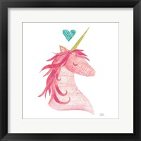 Framed Unicorn Magic II Heart Sq Pink