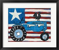 Framed Modern Americana Flag with Tractor