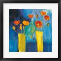 Framed Cadmium Orange Poppies on Blue v2