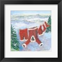 Framed Santa Suit on Clothesline