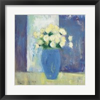Framed Ranunculi in Blue Vase