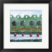 Framed Holly with Ivy Topiaries