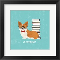 Framed Good Dogs Corgi Teal