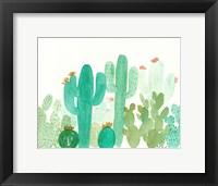 Framed Green Cactus Landscape
