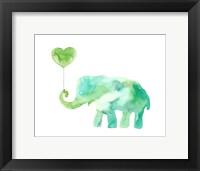 Framed Green Elephant