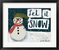 Framed Let It Snow Hipster Snowman