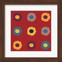 Framed Sunflower Sampler on Red