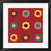 Framed Sunflower Sampler on Red