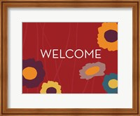 Framed Multicolor Welcome on Red