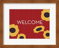 Framed Sunflower Welcome on Red