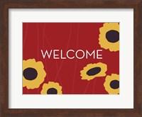 Framed Sunflower Welcome on Red