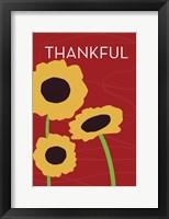 Framed Sunflower Thankful on Red