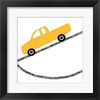 Framed Yellow Truck on Road