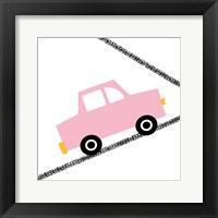 Pink Car on Road Framed Print