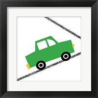 Green Car on Road Framed Print