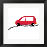 Red Car on Road Framed Print