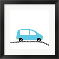 Blue Car on Road Framed Print