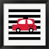 Framed Bright Red Taxi