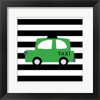 Framed Bright Green Taxi