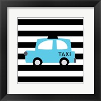 Framed Bright Blue Taxi