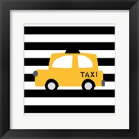 Framed Bright Yellow Taxi