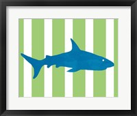 Blue and Green Shark Framed Print