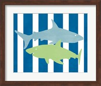 Framed Blue and Green Shark III