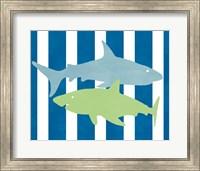 Framed Blue and Green Shark III