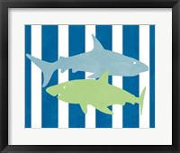Blue and Green Shark III Framed Print
