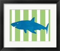 Framed Blue and Green Shark II