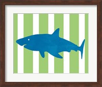 Framed Blue and Green Shark II