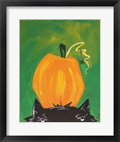 Framed Cat and Pumpkin