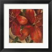 Framed Vivid Red Lily on Gold Crop