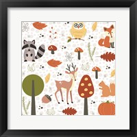 Framed Fall Tree & Animal Pattern