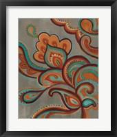 Framed Bohemian Paisley I Turquoise Neutral